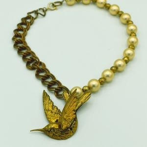 Hummingbird necklace -- Brass and glass pearls